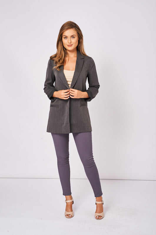 BIK BOK Grey Oversized Blazer-Fabulous Bargains Galore