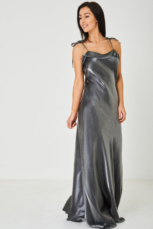 Layered Neck Fishtail Maxi Dress in Grey