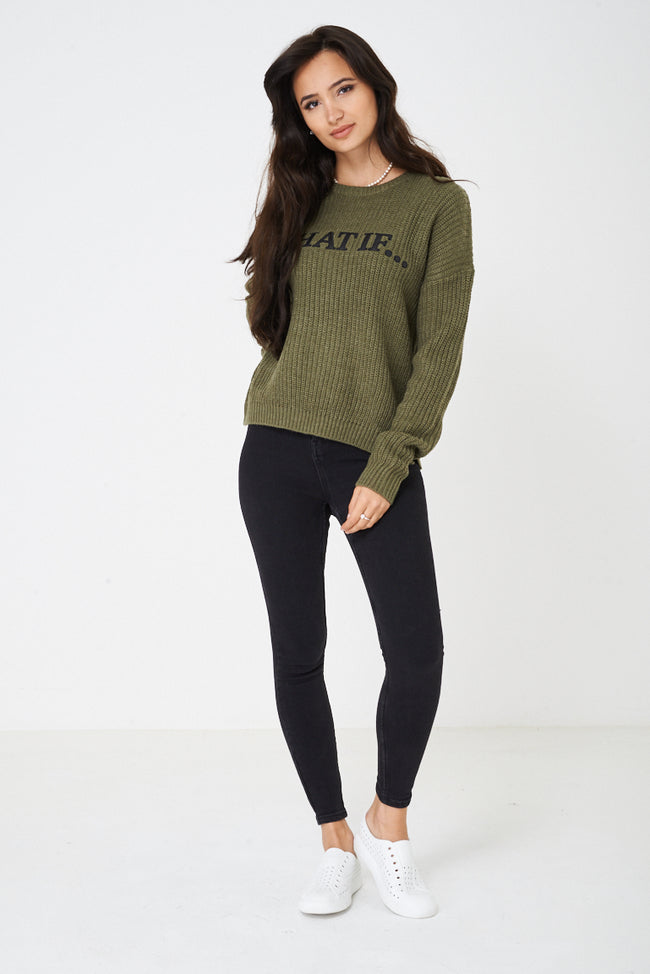 What IF Chunky Khaki Knit Jumper-Fabulous Bargains Galore