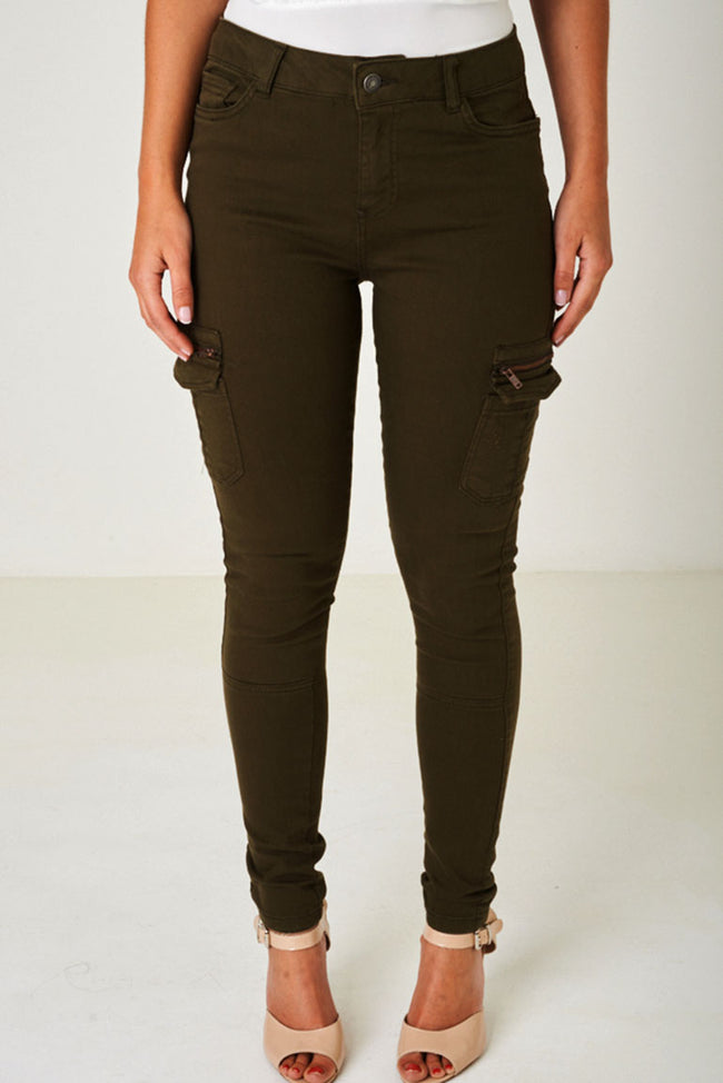 Khaki Green Jeans with Utility Styling Ex Brand-Fabulous Bargains Galore