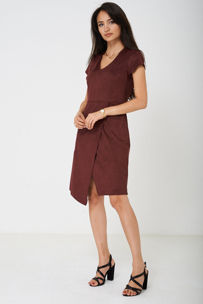 Faux Suede Burgundy Dress Ex Brand-Fabulous Bargains Galore