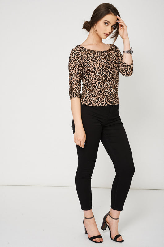 Leopard Pattern Bardot Top Ex-Branded-Fabulous Bargains Galore