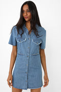 Shirt Dress in Denim Blue-Fabulous Bargains Galore