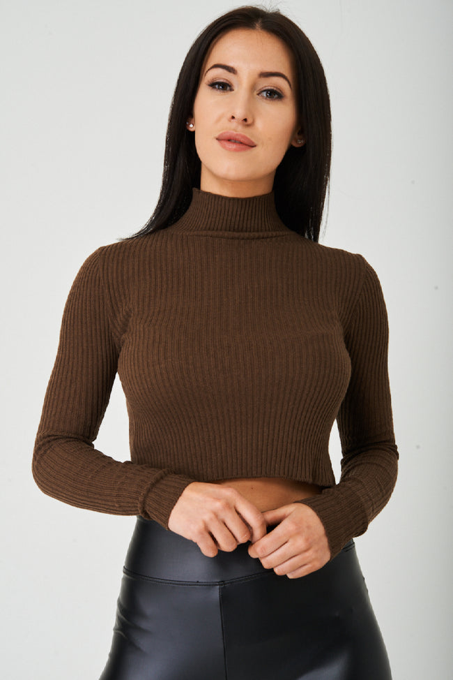 Brown Ribbed Crop Top Ex Brand-Fabulous Bargains Galore