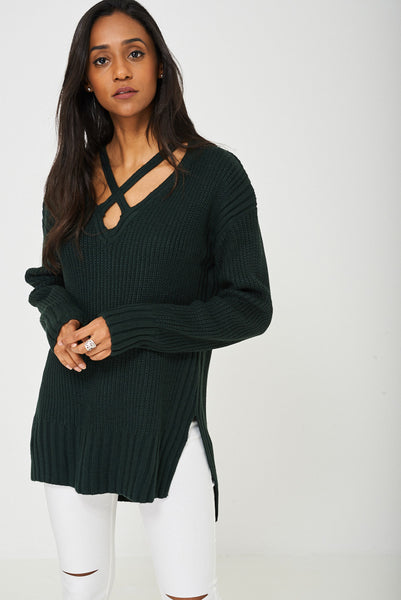 Criss Cross Front Jumper in Green