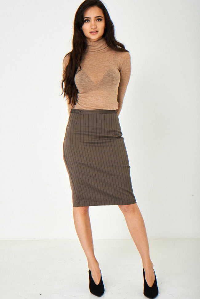 Brown Office Skirt-Fabulous Bargains Galore