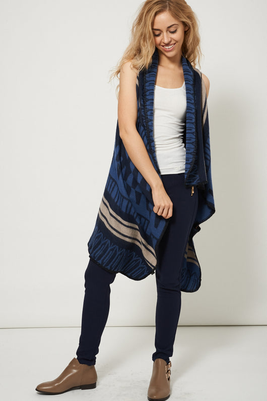 Sleeveless Waterfall Cardigan With Abstract Design-Fabulous Bargains Galore