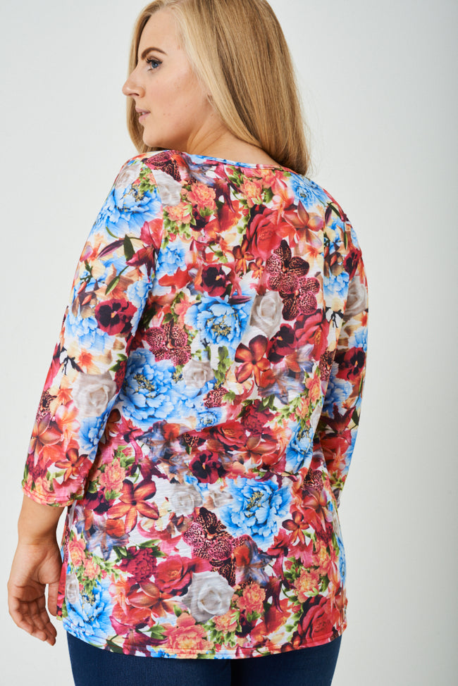 PLUS SIZE All Over Floral Top-Fabulous Bargains Galore