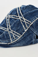 Blue Denim Flat Cap With Rhinestone Diamante Detail-Fabulous Bargains Galore