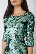 BIK BOK All Over Green Sequin Mini Dress-Fabulous Bargains Galore