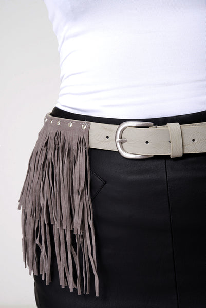 Faux Leather With Fringe Suede Studded Belt In Grey