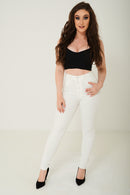 Skinny Ankle Jeans in Cream Ex Brand-Fabulous Bargains Galore