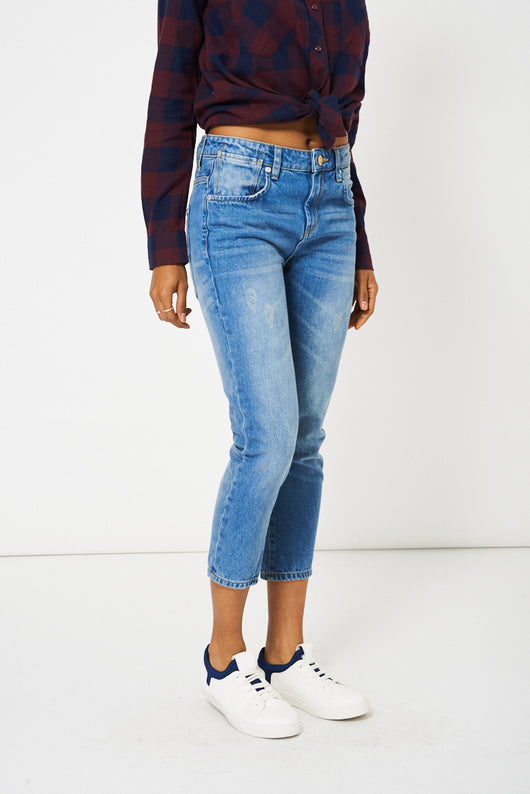 Blue Distressed Boyfriend Style Jeans Ex-Branded-Fabulous Bargains Galore