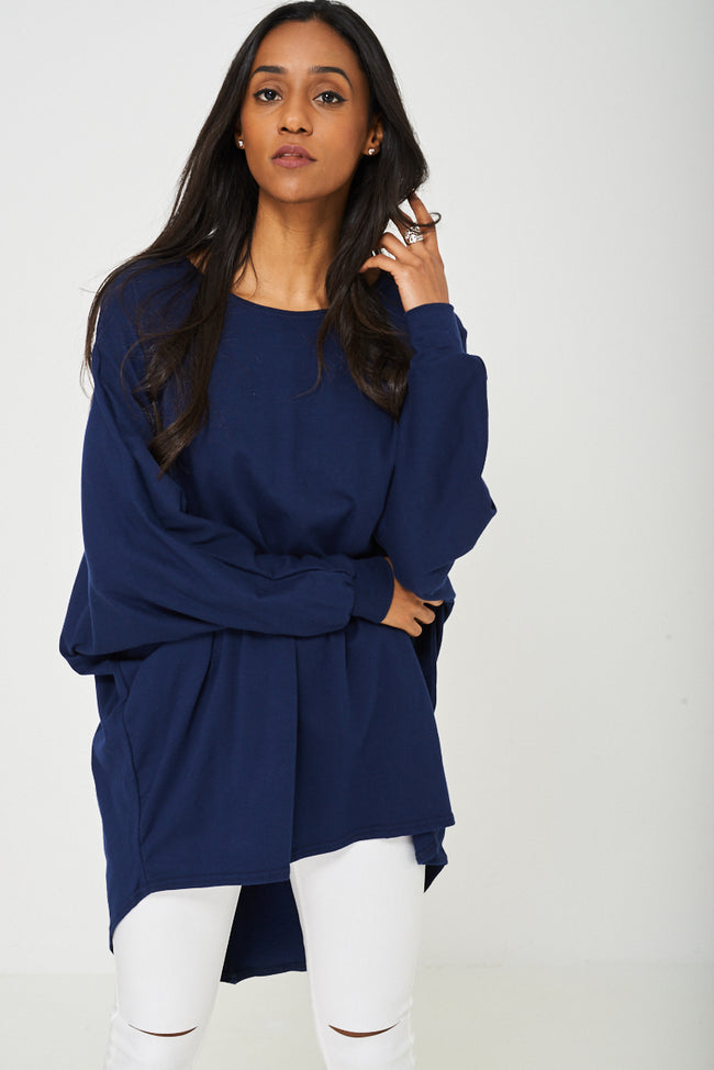 Oversized Tunic Top in Navy-Fabulous Bargains Galore