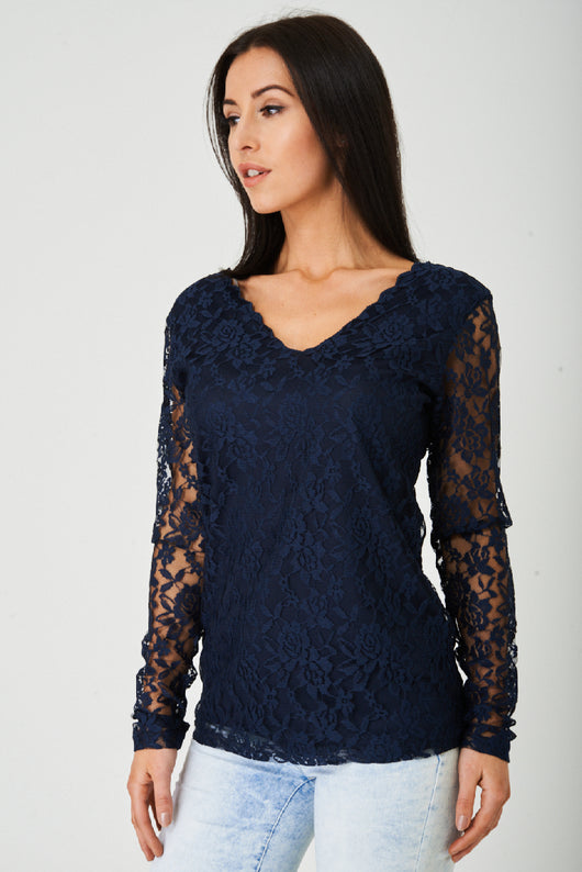 Lace Scallop Neck Top in Navy-Fabulous Bargains Galore