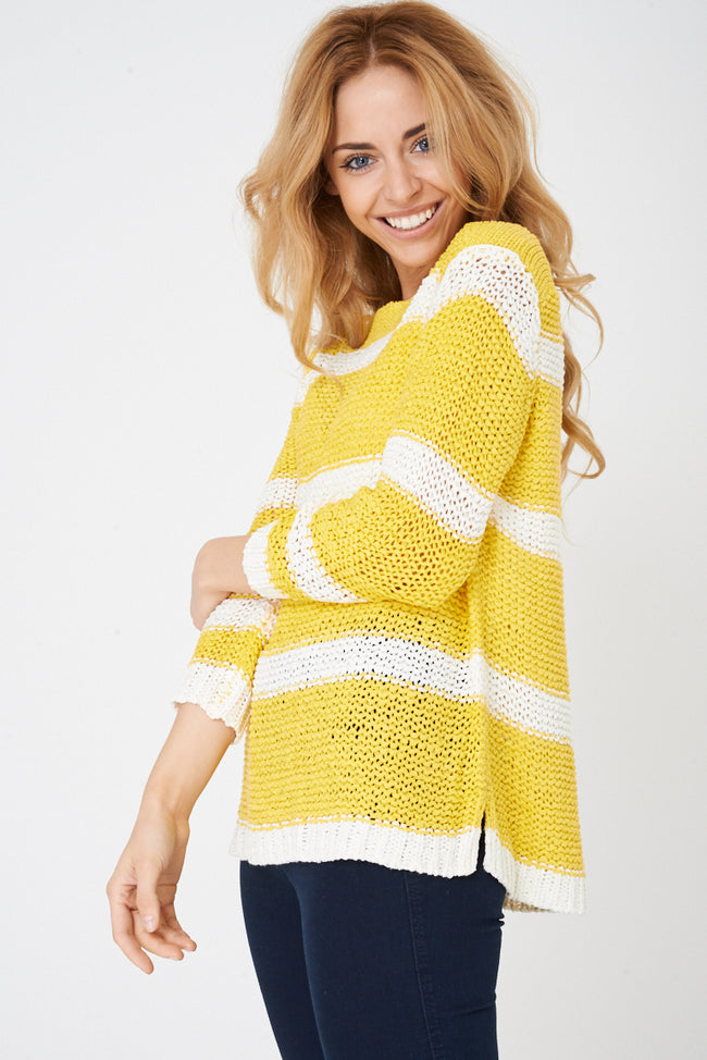 Crochet Pullover Yellow Sweater-Fabulous Bargains Galore