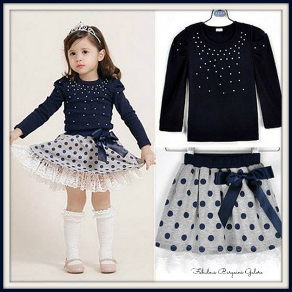 Sale -  Baby Girls Toddler Polka Dot Children Pearls Outfit Set