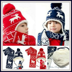 Winter Christmas Reindeer Hat and Scarf Set