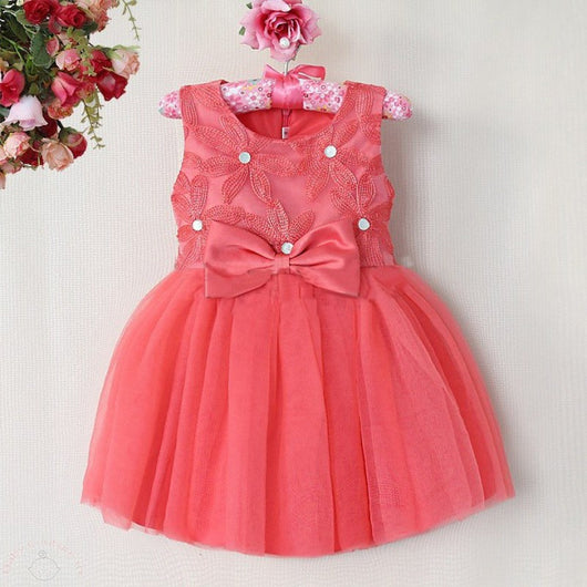 Sleeveless Coral Party Dress for Girls-Fabulous Bargains Galore