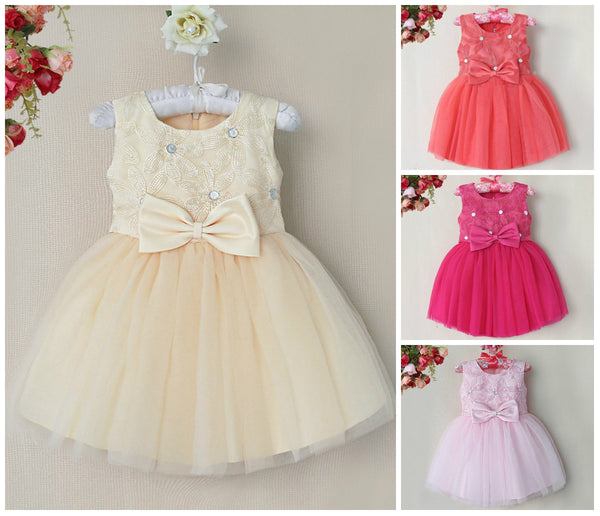 Baby Girl Toddler Thread Flower Occasion Bow Dress