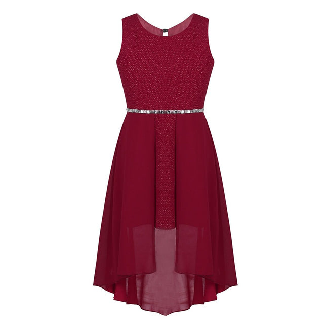 Sparkly birthday party dress for girl dark red 6-14 years-Fabulous Bargains Galore