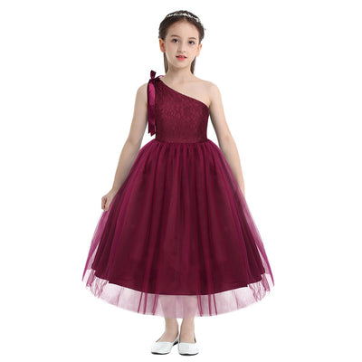 Lace and tulle flower girl dress in navy for 3-12 year olds-Fabulous Bargains Galore