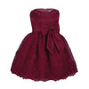 Burgundy lace dress for little girls up to 18 months