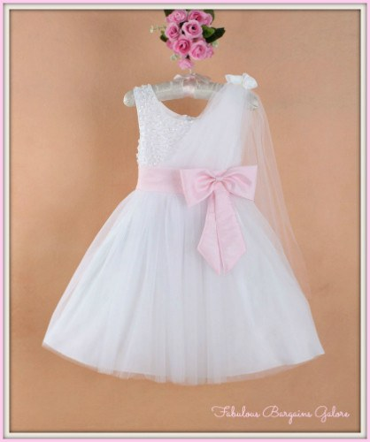 Adorable Girls Occasion Sparkly Diamond like Stones With Baby Pink Bow Dress Gown
