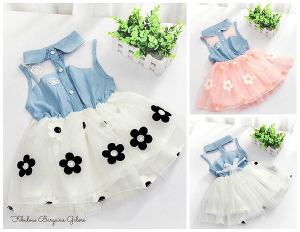 Sale -  Baby Girl Toddler Broderie Denim Flower Lace Summer Dress