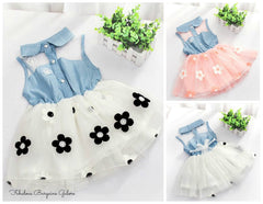 Baby Girl Toddler Broderie Denim Flower Lace Summer Dress