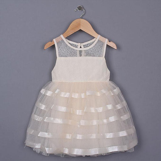 Cream Mesh Baby Girl Dress-Fabulous Bargains Galore