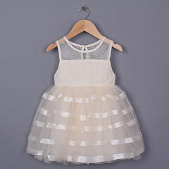 Cream Mesh Baby Girl Dress