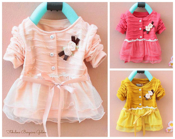 Cute Long Sleeve Tulle Baby Girl Occasion Dress