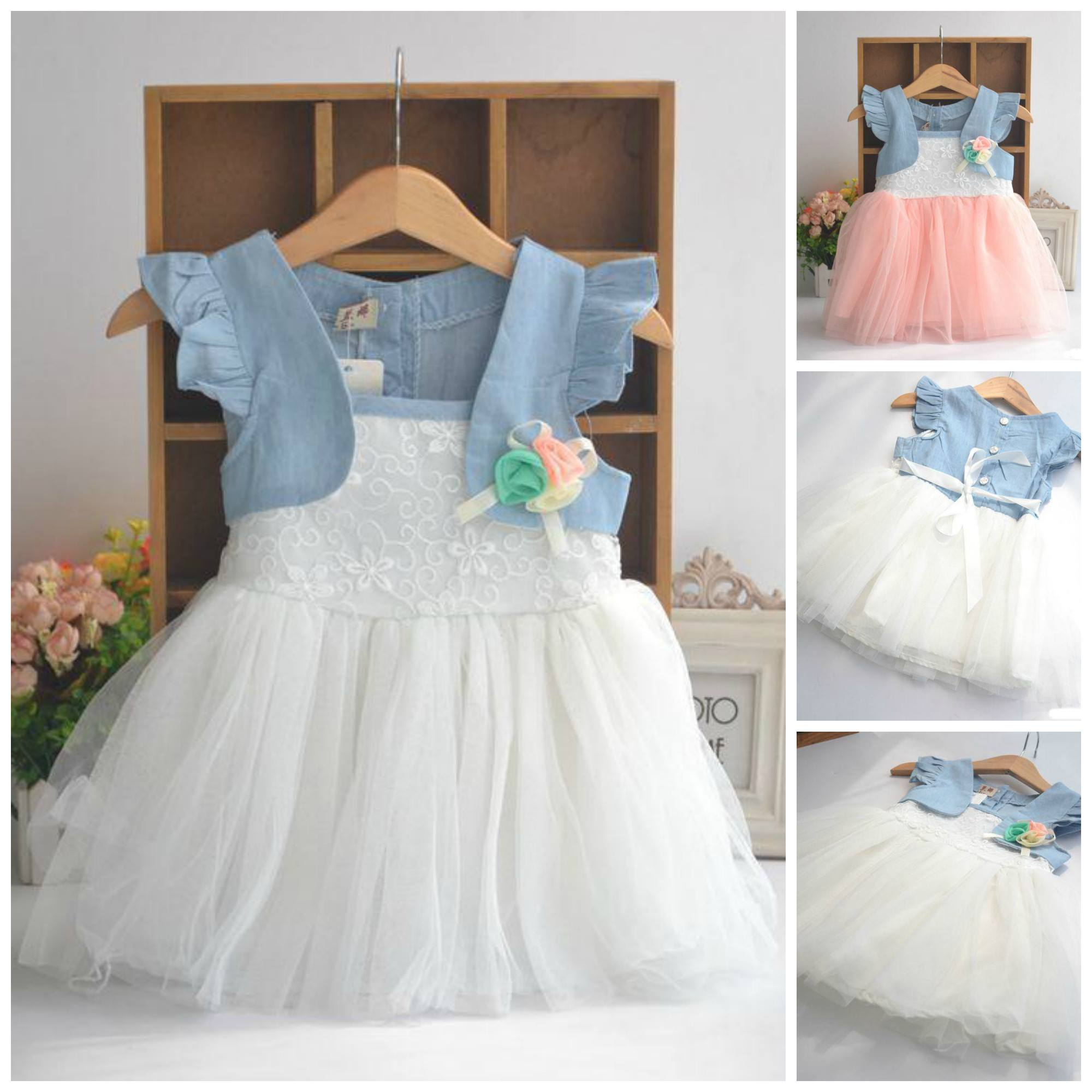 Denim Look Baby Girl Party Dress