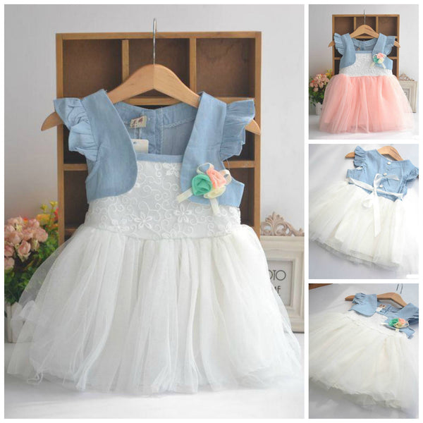 Baby Girl Toddler Cute Wedding Occasion Denim Strap Veil Summer Dress