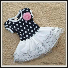 Sale -  Baby Girl toddler Polka Dot Dress and Detachable Bow