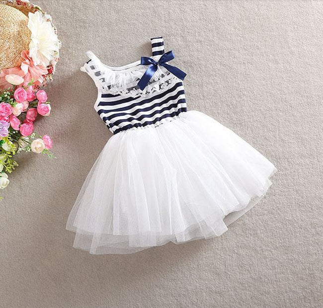 Girls blue and white striped dress up to age 6 years-Fabulous Bargains Galore