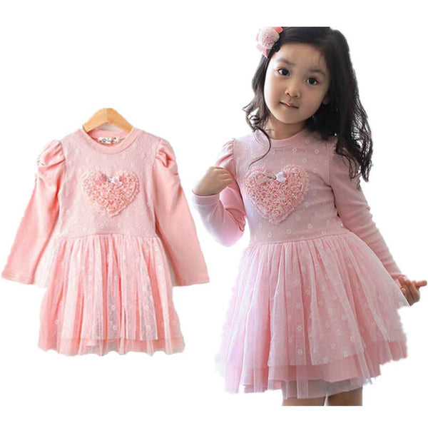 Long Sleeve Pink Party Dress for Girls