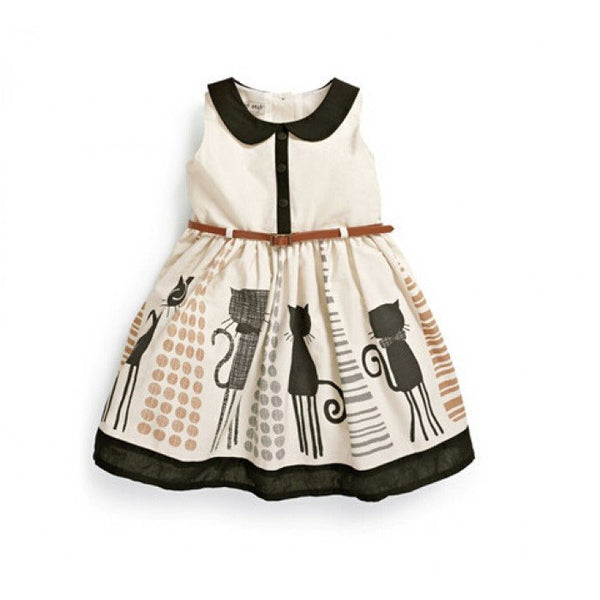 Baby Girls Mystery Cat Spring Summer Sleeveless Party Dress