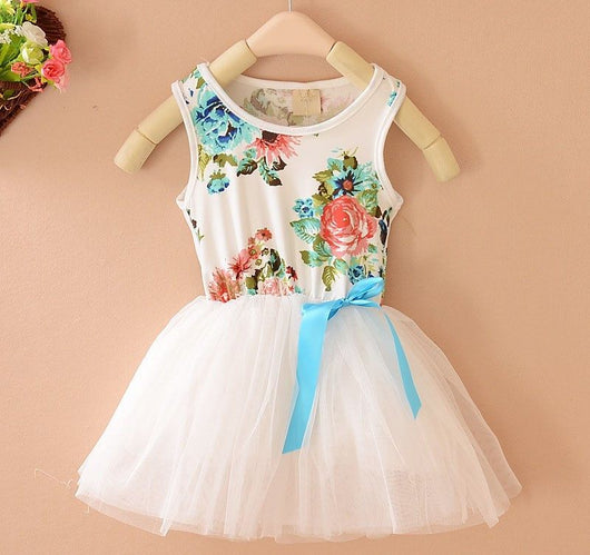 Sleeveless Floral Print Baby Girls Summer Dress-Fabulous Bargains Galore