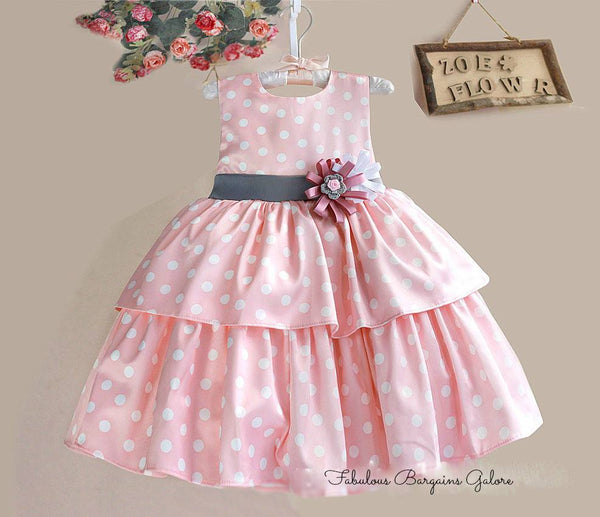 Sleeveless Polka Dots Pink Party Dress for Baby Girls