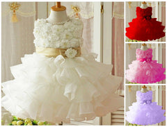 Beautiful Ball Gown Flowers Sash Flower Girl Wedding Formal Occasion Dress