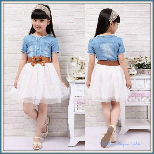 Beautiful denim look girls dress with tulle skirt-Fabulous Bargains Galore
