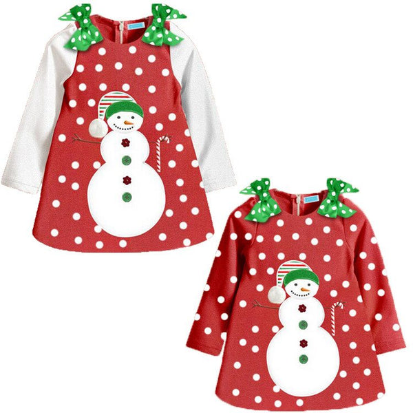 Snowman Polka Dots Girls Christmas Dress