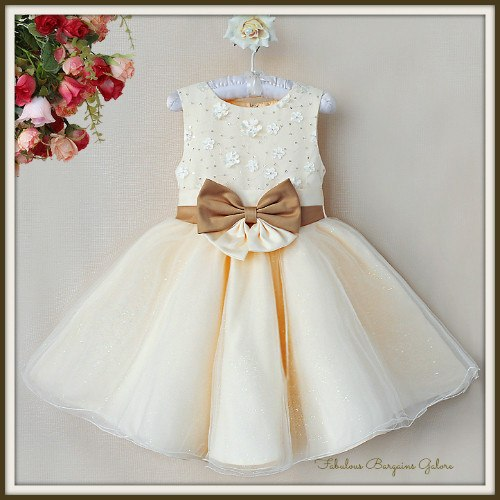 f796f792517 Stunning Sparkly Cream Flower Girl Dress - Fabulous Bargains Galore