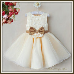 Stunning Sparkly Cream Flower Girl Dress