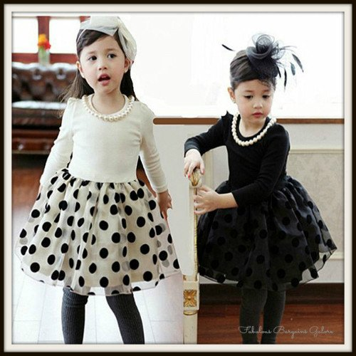 Beautiful Girls Long Sleeve Polka Dot Occasion Dress With Pearl Necklace