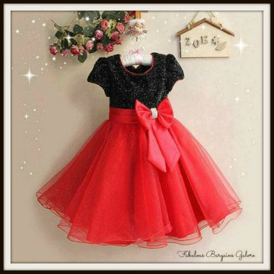 Sparkly Red Tulle Black Party Dress for Girls-Fabulous Bargains Galore
