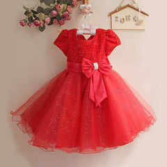 Beautiful Sparkly Tulle Red Party Dress for Girls