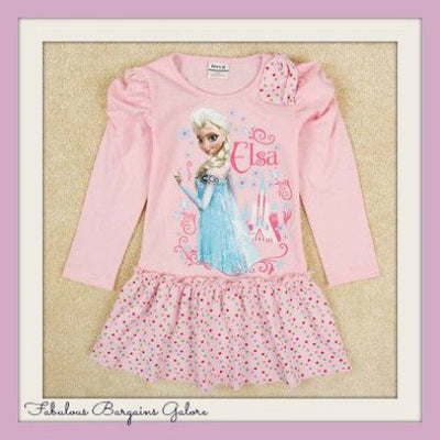 Long Sleeve Pink Elsa Girls Dress-Fabulous Bargains Galore